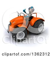 Clipart Of A 3d Alien Giving A Thumb Up And Operating An Orange Tractor On A White Background Royalty Free Illustration by Julos