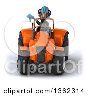 Clipart Of A 3d Alien Giving A Thumb Down And Operating An Orange Tractor On A White Background Royalty Free Illustration by Julos
