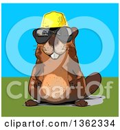 Clipart Of A Cartoon Happy Construction Beaver Wearing Sunglasses Royalty Free Illustration