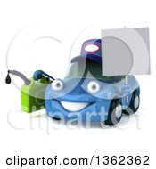 Clipart Of A 3d Blue Mechanic Car Holding A Gas Can And Blank Sign On A White Background Royalty Free Illustration