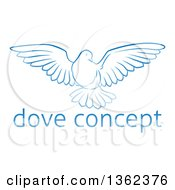 Clipart Of A Gradient Blue Dove Flying Over Sample Text Royalty Free Vector Illustration by AtStockIllustration