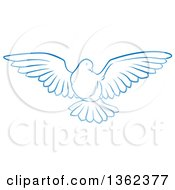 Clipart Of A Gradient Blue Dove Flying Royalty Free Vector Illustration by AtStockIllustration