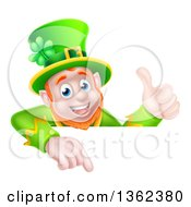 Clipart Of A Cartoon Happy St Patricks Day Leprechaun Giving A Thumb Up And Pointing Down Over A Sign Royalty Free Vector Illustration by AtStockIllustration