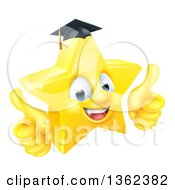 3d Happy Golden Graduate Star Emoji Emoticon Character Giving Two Thumbs Up