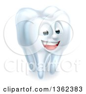 Clipart Of A 3d Happy White Tooth Character Royalty Free Vector Illustration by AtStockIllustration