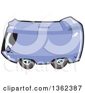Clipart Of A Cartoon Purple Tour Bus Or Camper RV Royalty Free Vector Illustration