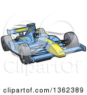 Clipart Of A Cartoon Driver In A Blue And Yellow Race Car Royalty Free Vector Illustration