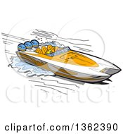 Clipart Of A Cartoon Couple In A White And Orange Speed Boat Royalty Free Vector Illustration
