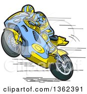 Clipart Of A Cartoon Man Wearing A Matching Suit And Racing A Blue And Yellow Motorcycle Royalty Free Vector Illustration by Clip Art Mascots