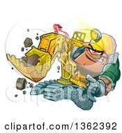 Cartoon White Male Backhoe Operator Construction Worker Wearing A Helmet Lamp