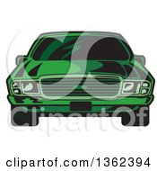 Clipart Of A Front View Of A Cartoon Green Sports Car Royalty Free Vector Illustration