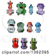 Clipart Of Cartoon Assorted Cars From Above Royalty Free Vector Illustration by Clip Art Mascots