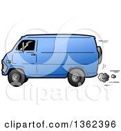 Cartoon Beat Up Blue Van Speeding