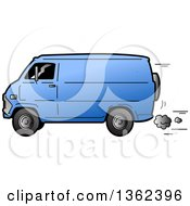 Clipart Of A Cartoon Beat Up Blue Van Speeding Royalty Free Vector Illustration