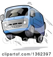 Clipart Of A Cartoon Blue Van With Dark Window Tint Catching Air And Flying Off Of The Road Royalty Free Vector Illustration