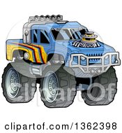 Clipart Of A Cartoon Tough Blue And Yellow Monster Truck Royalty Free Vector Illustration by Clip Art Mascots