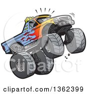 Clipart Of A Cartoon Monster Truck With Flame Paint Doing A Wheelie Or Jumping Royalty Free Vector Illustration
