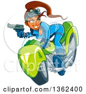 Clipart Of A Cartoon Sexy Red Haired White Spy Girl Holding A Gun Riding A Motorcycle And Engaged In A Chase Royalty Free Vector Illustration