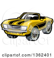 Clipart Of A Cartoon Yellow Convertible Muscle Car With Black Racing Stripes And Mud Tires Royalty Free Vector Illustration