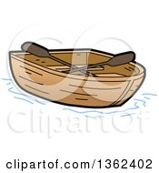 Clipart Of A Cartoon Empty Wooden Row Boat Royalty Free Vector Illustration