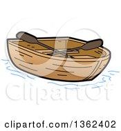 Cartoon Empty Wooden Row Boat