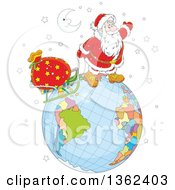 Clipart Of A Cartoon Crescent Moon Over Santa Claus Pulling A Sleigh On A Globe On Christmas Eve Royalty Free Vector Illustration