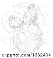Clipart Of A Cartoon Black And White Crescent Moon Over Santa Claus Pulling A Sleigh On A Globe On Christmas Eve Royalty Free Vector Illustration by Alex Bannykh