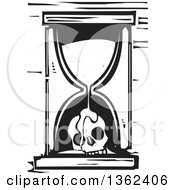 Black And White Woodcut Hourglass With Sand Flowing Over A Skull