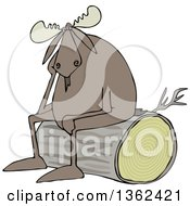 Clipart Of A Cartoon Depressed Moose Sitting On A Log Royalty Free Vector Illustration