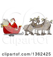 Clipart Of A Team Of Moose Ready To Pull Santas Christmas Sleigh Royalty Free Vector Illustration by Dennis Cox