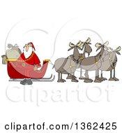 Team Of Moose Ready To Pull Santas Christmas Sleigh