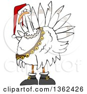Clipart Of A Cartoon White Christmas Turkey Bird Wearing A Santa Hat And Bell Sash Royalty Free Vector Illustration