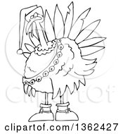 Clipart Of A Cartoon Black And White Christmas Turkey Bird Wearing A Santa Hat And Bell Sash Royalty Free Vector Illustration