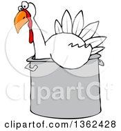 Cartoon White Thanksgiving Turkey Bird Sitting In A Pot