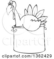 Clipart Of A Cartoon Black And White Thanksgiving Turkey Bird Sitting In A Pot Royalty Free Vector Illustration