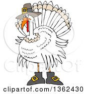 Clipart Of A Cartoon White Thanksgiving Turkey Bird Wearing Boots And A Pilgrim Hat Royalty Free Vector Illustration by Dennis Cox