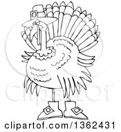 Clipart Of A Cartoon Black And White Thanksgiving Turkey Bird Wearing Boots And A Pilgrim Hat Royalty Free Vector Illustration