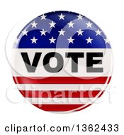 3d Shiny American Flag Vote Button On A White Background