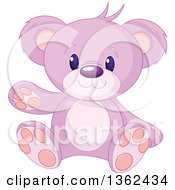 Clipart Of A Cute Pink And Purple Teddy Bear Sitting And Waving Royalty Free Vector Illustration by Pushkin