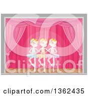 Clipart Of Graceful Caucasian Girls Dancing Swan Lake Ballet On Stage Royalty Free Vector Illustration by Pushkin