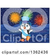 Clipart Of A Cute New Year Penguin Wearing A Blue Top Hat And Sash Under Fireworks In The Snow Royalty Free Vector Illustration