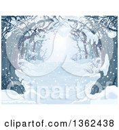 Clipart Of A Background Of A Snow Covered Tree Lined Driveway Or Forest Royalty Free Vector Illustration by Pushkin