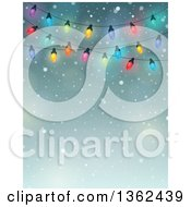 Clipart Of A Background Of Colorful Christmas Lights Over Snow And Text Space Royalty Free Vector Illustration by visekart