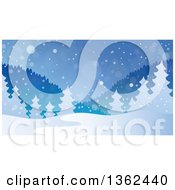 Clipart Of A Background Of Snow Falling Over Mountains And Evergreen Trees Royalty Free Vector Illustration