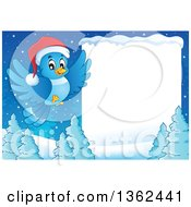 Christmas Bluebird Flying Over A Forest By A Blank Sign