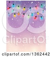 Clipart Of A Background Of Colorful Christmas Lights Over Blue With Snow And Text Space Royalty Free Vector Illustration