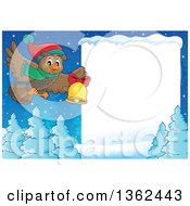 Clipart Of A Cartoon Christmas Owl Wearing A Winter Scarf And Hat Flying Over A Snow Covered Forest And Sign While Ringing A Bell Royalty Free Vector Illustration