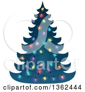 Clipart Of A Silhouetted Christmas Tree With Colorful Lights Royalty Free Vector Illustration