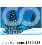 Silhouetted Christmas Tree With Colorful Lights In A Night Winter Landscape