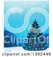 Clipart Of A Silhouetted Christmas Tree With Colorful Lights In A Winter Landscape Royalty Free Vector Illustration